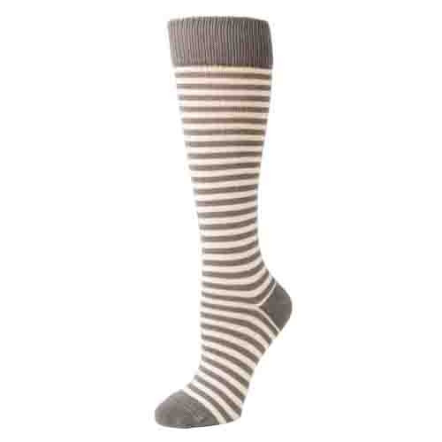 Women's Knee High Socks - Striped Grey/Ivory