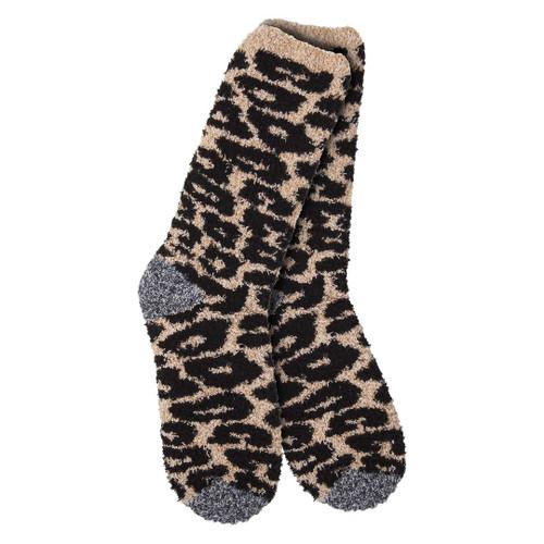 Fuzzy Cheetah Crew Socks