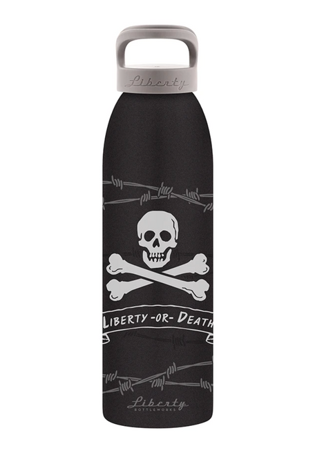 """""""Liberty or Death"""" Textured Aluminum Water Bottle"""