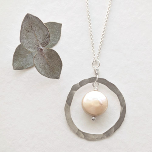 Coin Pearl Hoop Necklace