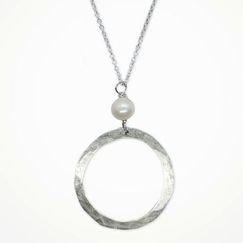 Silver Hoop Freshwater Pearl Necklace