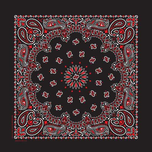 Black and Red bandana printed on one side