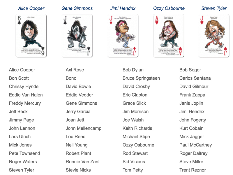 Rock and Roll Playing Cards