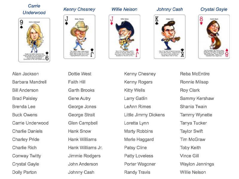 country music playing cards