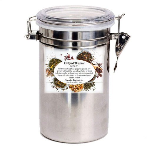 Stainless Tea Canister with glass see-through lid.