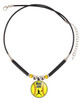 A-Mo.GYB-Personalized Yellow Softball Pitcher 3D Glass Pendant Necklace With Name & Number