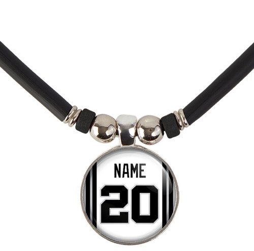 Personalized San Antonio Spurs Jersey Necklace with Name and Number