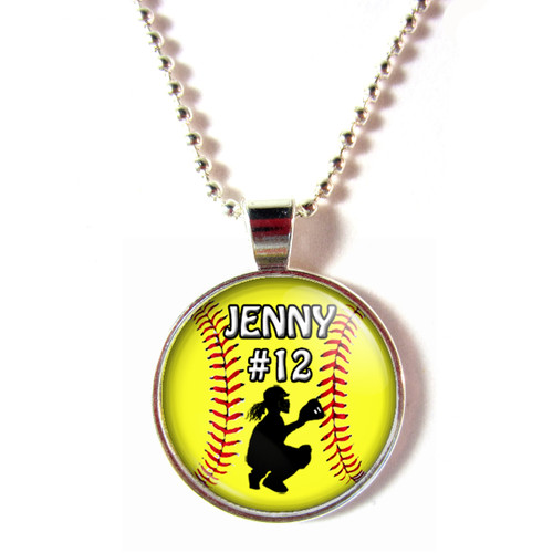 personalized cabochon softball catcher necklace