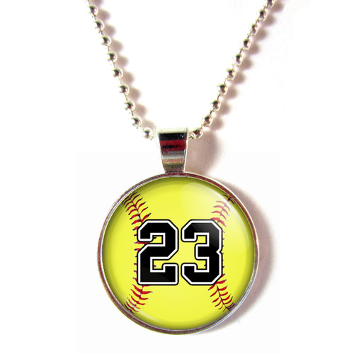 Personalized cabochon glass softball necklace with your number