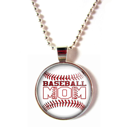 Baseball Mom cabochon glass pendant necklace