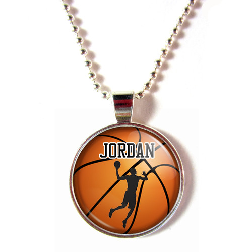 Personalized Cabochon Slam Dunk Basketball Necklace with your Name
