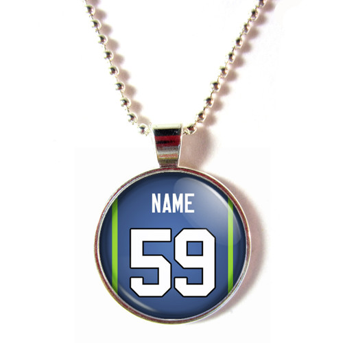 Personalized Seattle Seahawks Cabochon Glass Necklace With Name and Number