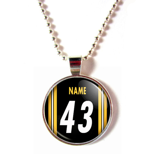 Personalized Pittsburgh Steelers Cabochon Glass Necklace With Name and Number