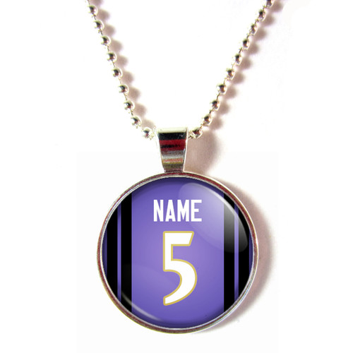 Personalized Baltimore Ravens Cabochon Glass Necklace With Name and Number