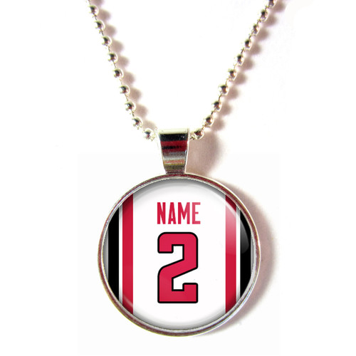 Personalized Atlanta Falcons Cabochon Glass Necklace With Name and Number