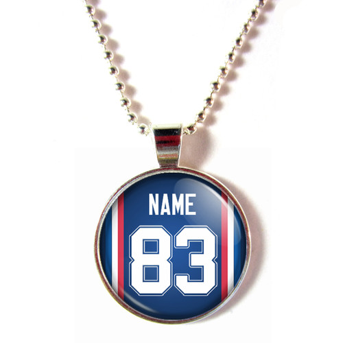 Personalized Buffalo Bills Cabochon Glass Necklace With Name and Number