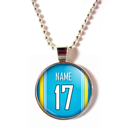 Personalized San Diego Chargers Cabochon Glass Necklace With Name and Number