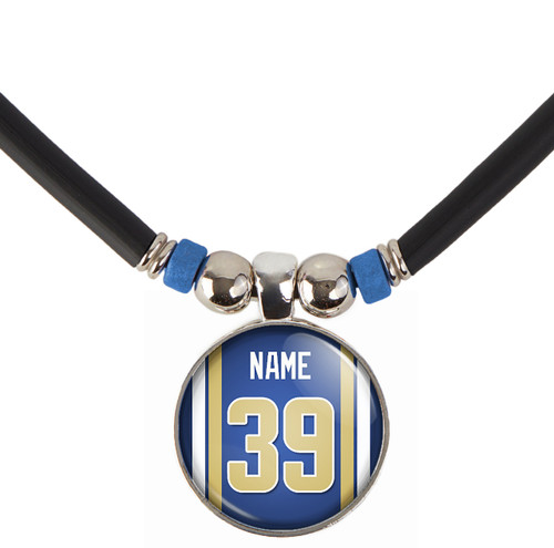 Personalized St. Louis/LosAngeles Rams Necklace With Name and Number