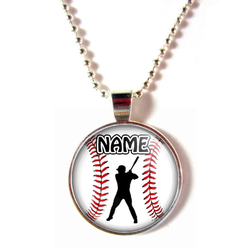 Personalized cabochon glass baseball left handed batter pendant necklace with your name