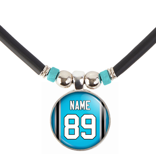 Personalized Carolina Panthers Blue Jersey Necklace With Name and Number