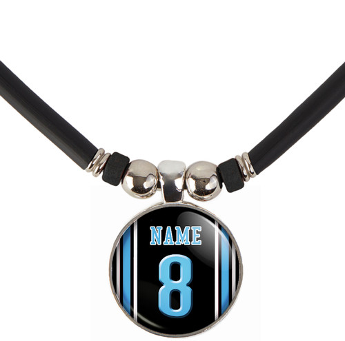 Personalized Detroit Lions black jersey Necklace With Name and Number