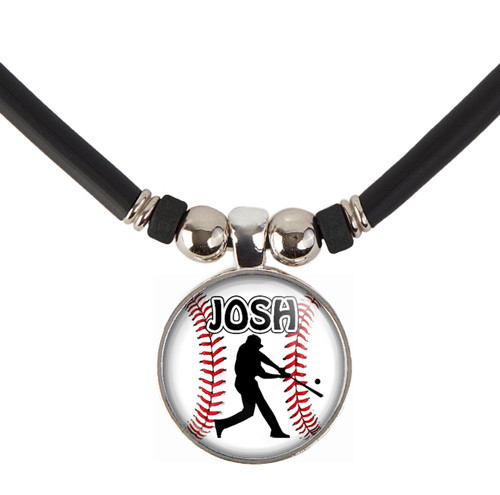 Personalized Baseball Batter 3D Glass Pendant Necklace With Name