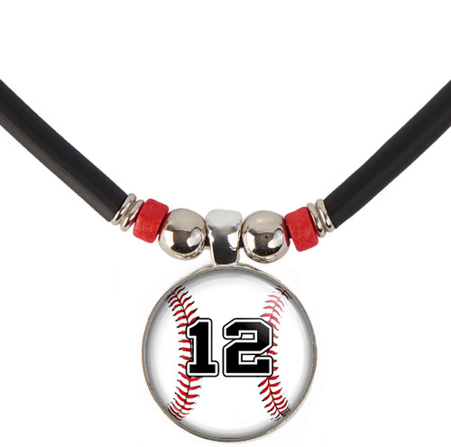 custom Baseball 3D Glass Pendant Necklace With Your Number