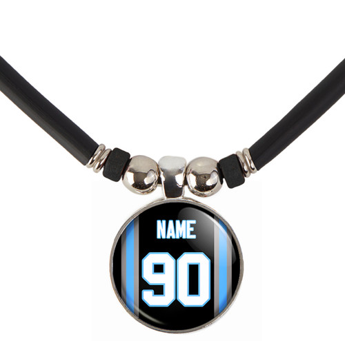 Personalized Carolina Panthers 3D Glass Pendant Necklace With Name and Number