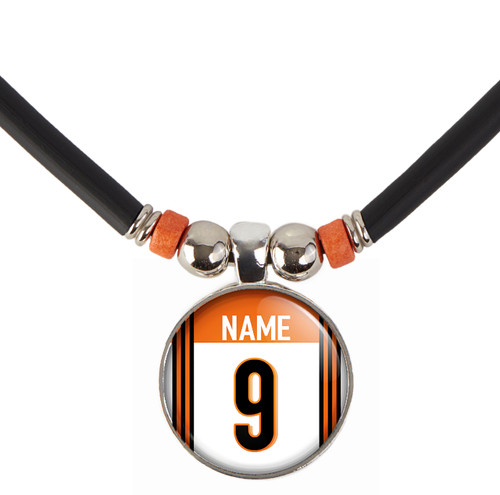 Personalized Cincinnati Bengals 3D Glass Pendant Necklace With Name and Number