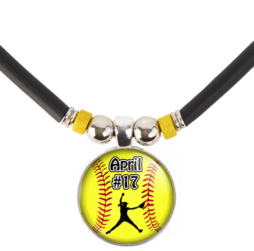 Custom Yellow Softball Pitcher 3D Glass Pendant Necklace With Name & Number