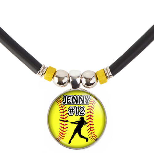 Custom Yellow Softball Batter 3D Glass Pendant Necklace With Name & Number