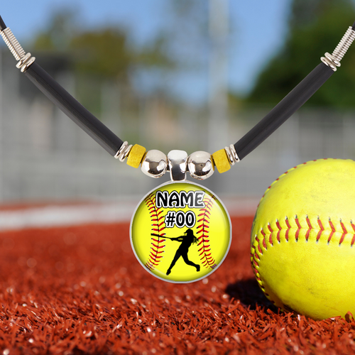 Softball Gift, Girls Softball Pendant Necklace with Personalized Name|Number-Customized Softball Team Gift, Jewelry, Trophy, Medals, Favors