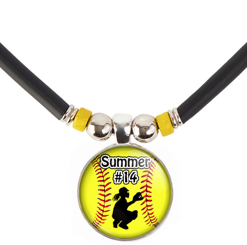 Custom Yellow Softball Catcher 3D Glass Pendant Necklace With Name & Number
