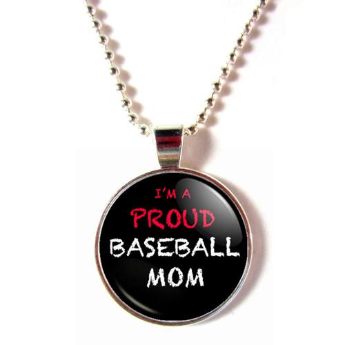 I'm a Proud Baseball Mom Blackboard cabochon glass necklace