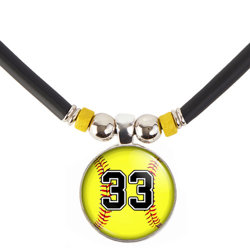 customized Yellow Softball 3D Glass Pendant Necklace With Your Number