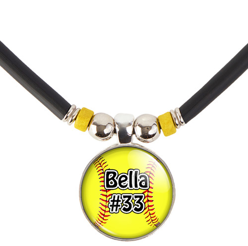 Custom Yellow Softball 3D Glass Pendant Necklace With Your Name and Number