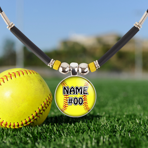 Softball Necklace Gift-Girls Softball Pendant Jewelry with Personalized Name and Number-Customized Softball fastpitch Team Gift-Softball Mom