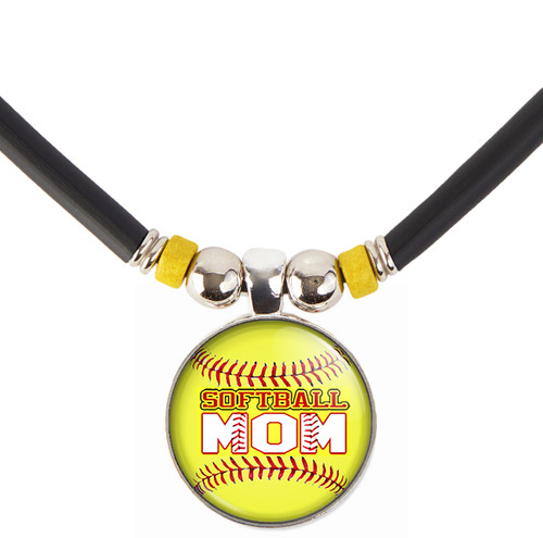Yellow Softball Mom 3D Glass Pendant Necklace