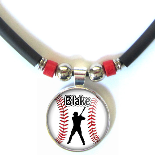 Personalized Baseball Left Handed Batter 3D Glass Pendant Necklace With Name
