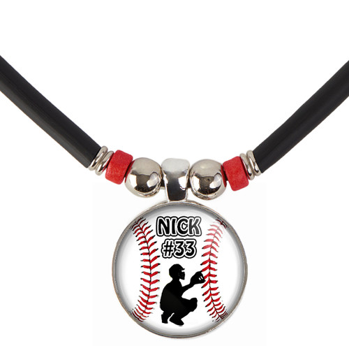 Personalized Baseball Catcher 3D Glass Pendant Necklace With Name and Number