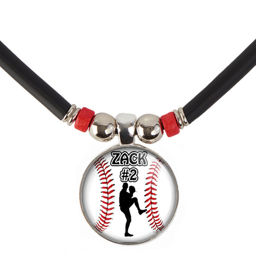 Personalized Baseball Left Handed Pitcher 3D Glass Pendant Necklace With Name and Number