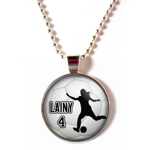 Personalized cabochon glass soccer girl silhouette necklace with name and number
