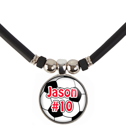 Custom Soccer Ball Pendant Necklace With Name and/or Number, Free Shipping