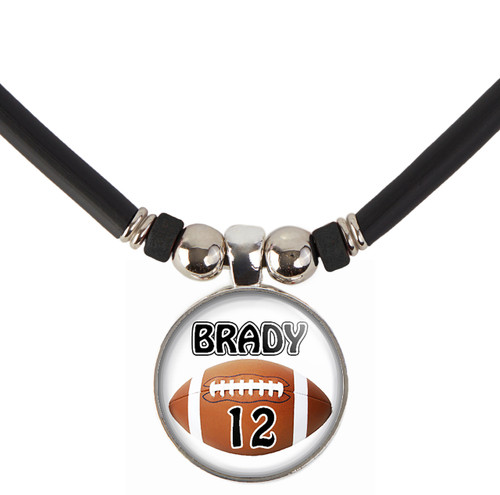 Personalized Cabochon Glass football Bead necklace with your name and number