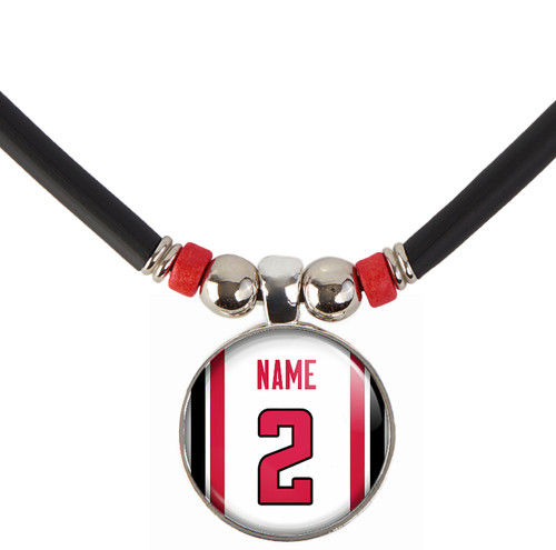 Personalized Atlanta Falcons Cabochon Glass football Bead necklace with your name and number