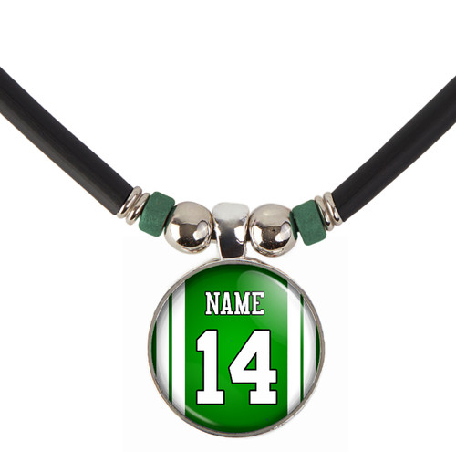 Personalized New York Jets Cabochon Glass football Bead necklace with your name and number