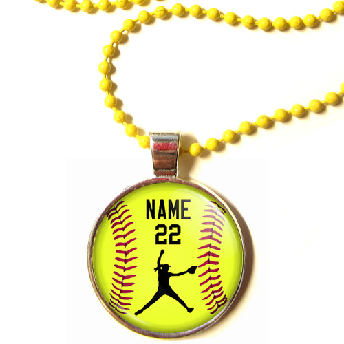 """Copy of Personalized Yellow Chain 1"""" Diameter Softball Pitcher Pendant Necklace with Your Name and Number"""
