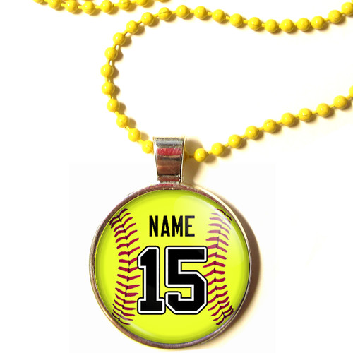 """Personalized Yellow Chain 1"""" Diameter Softball Pendant Necklace with Your Name and Number"""