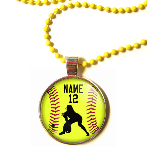 """Personalized Yellow Chain 1"""" Diameter Softball Outfielder Pendant Necklace with Your Name and Number"""