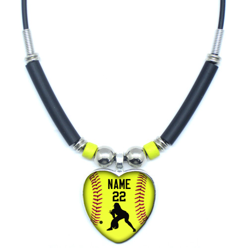 Personalized Yellow Softball Outfielder Heart 3D Glass Pendant Necklace With Your Name and Number